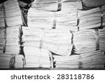 piles of paper on the shelves  | Shutterstock . vector #283118786