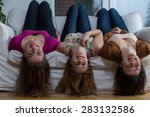 three young girl friends having ... | Shutterstock . vector #283132586