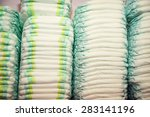 Children's Diapers Stacked In ...