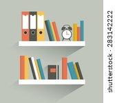 book shelf. flat design. vector. | Shutterstock .eps vector #283142222