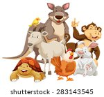 Stock vector group of mix wild animals smiling 283143545