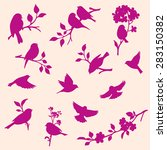 Set Of Decorative Bird And Twig ...