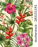 tropical floral seamless... | Shutterstock .eps vector #283151192