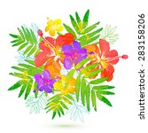 bright tropical flowers vector... | Shutterstock .eps vector #283158206