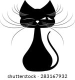 black cat on a white background | Shutterstock .eps vector #283167932