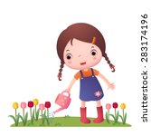 illustration of a girl watering ... | Shutterstock .eps vector #283174196