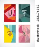set of hipster low poly ... | Shutterstock .eps vector #283176962