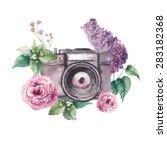 watercolor photo label. hand... | Shutterstock .eps vector #283182368