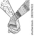 zentangle style   couple... | Shutterstock .eps vector #283196522