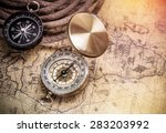 compass on vintage map with... | Shutterstock . vector #283203992