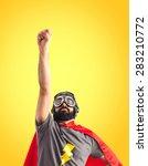 superhero doing fly gesture   Shutterstock . vector #283210772
