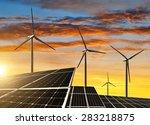 solar panels with wind turbines ... | Shutterstock . vector #283218875