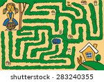 maze  girl with a basket of... | Shutterstock .eps vector #283240355