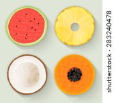 set of polygonal fruit halves.... | Shutterstock .eps vector #283240478