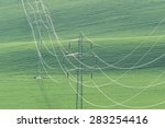 high voltage power line on...   Shutterstock . vector #283254416