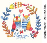 lovely vector card with sweet... | Shutterstock .eps vector #283256486