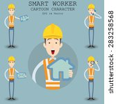 smart worker cartoon character... | Shutterstock .eps vector #283258568