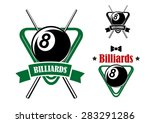 Billiards Or Pool Game Emblems...
