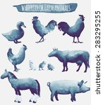 Stock vector vector set illustrations of watercolor farm animals 283295255