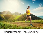 running woman. girl jogging on... | Shutterstock . vector #283320122