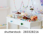 cake  candies  marshmallows ... | Shutterstock . vector #283328216