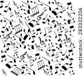 black musical notes on a white... | Shutterstock . vector #283332206