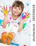 portrait of a cute cheerful... | Shutterstock . vector #283340618