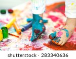 closeup painted in bright... | Shutterstock . vector #283340636