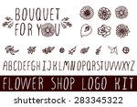 logo kit with handsketched... | Shutterstock .eps vector #283345322