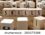 skills word written on wood... | Shutterstock . vector #283375388