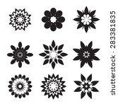 set of black geometric flowers | Shutterstock .eps vector #283381835