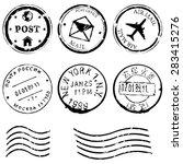 vector set of black postal... | Shutterstock .eps vector #283415276