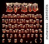 vector set of metallic letters... | Shutterstock .eps vector #283453556