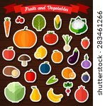 colorful flat fruits and... | Shutterstock .eps vector #283461266