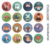 insurance icons flat set with... | Shutterstock .eps vector #283476512