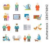 retired couple of aged...   Shutterstock .eps vector #283476842