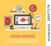 designer home office workspace...   Shutterstock .eps vector #283477178