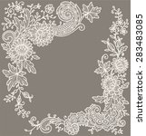 cream colored lace. corners.... | Shutterstock .eps vector #283483085