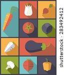 healthy vegetables icons vector ... | Shutterstock .eps vector #283492412