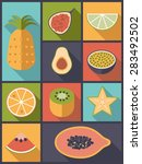 tropical fruit flat icons... | Shutterstock .eps vector #283492502