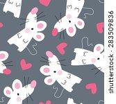 seamless cute mouse pattern... | Shutterstock .eps vector #283509836