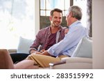 senior father with adult son... | Shutterstock . vector #283515992
