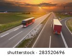 Truck And Bus Driving In Motio...