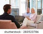 mature couple at home meeting... | Shutterstock . vector #283523786