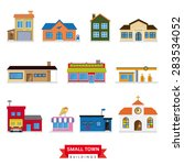 Постер, плакат: Small Town Buildings Vector