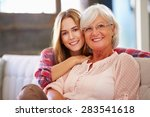 grandmother with adult... | Shutterstock . vector #283541618