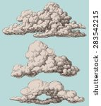 detailed vintage style clouds... | Shutterstock .eps vector #283542215