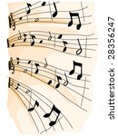 Music Sheet Doodles - Vector - stock vector