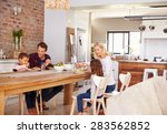 family mealtime at home   Shutterstock . vector #283562852
