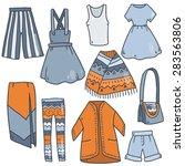 cute vector summer cartoon set... | Shutterstock .eps vector #283563806